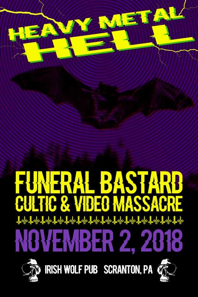 Funeral Bastard, Cultic, Video Massacre Metal Band Show Flyer November 2018