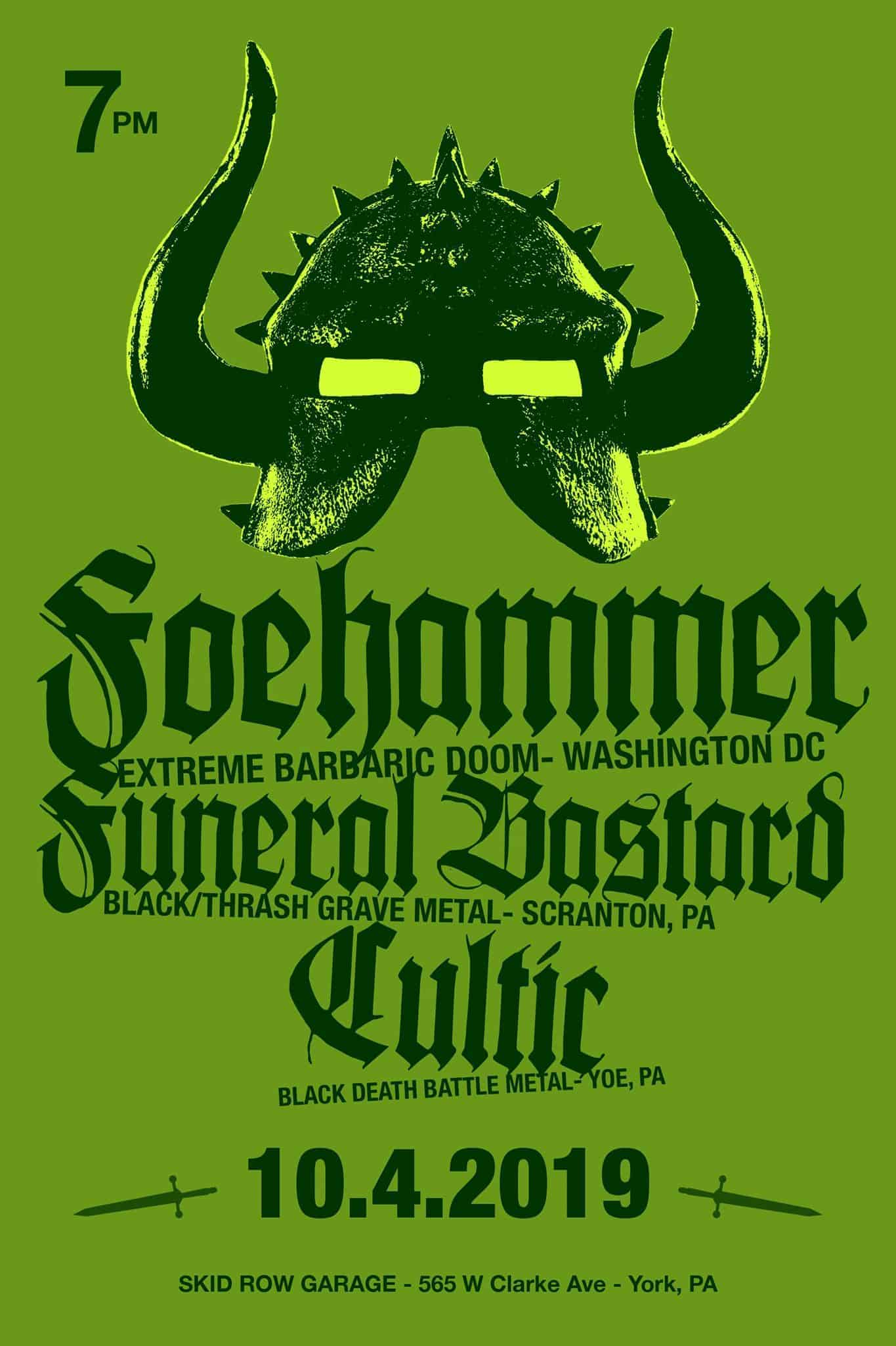 Cultic, Foehammer and Funeral Bastard Heavy Metal Show Flyer