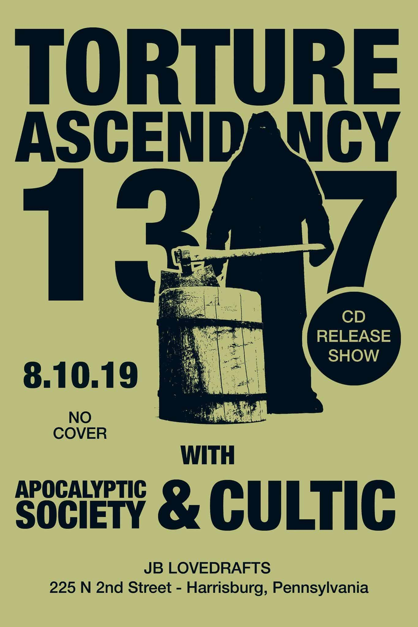 Torture Ascendancy, Apocalyptic Society and Cultic Metal Band Flyer