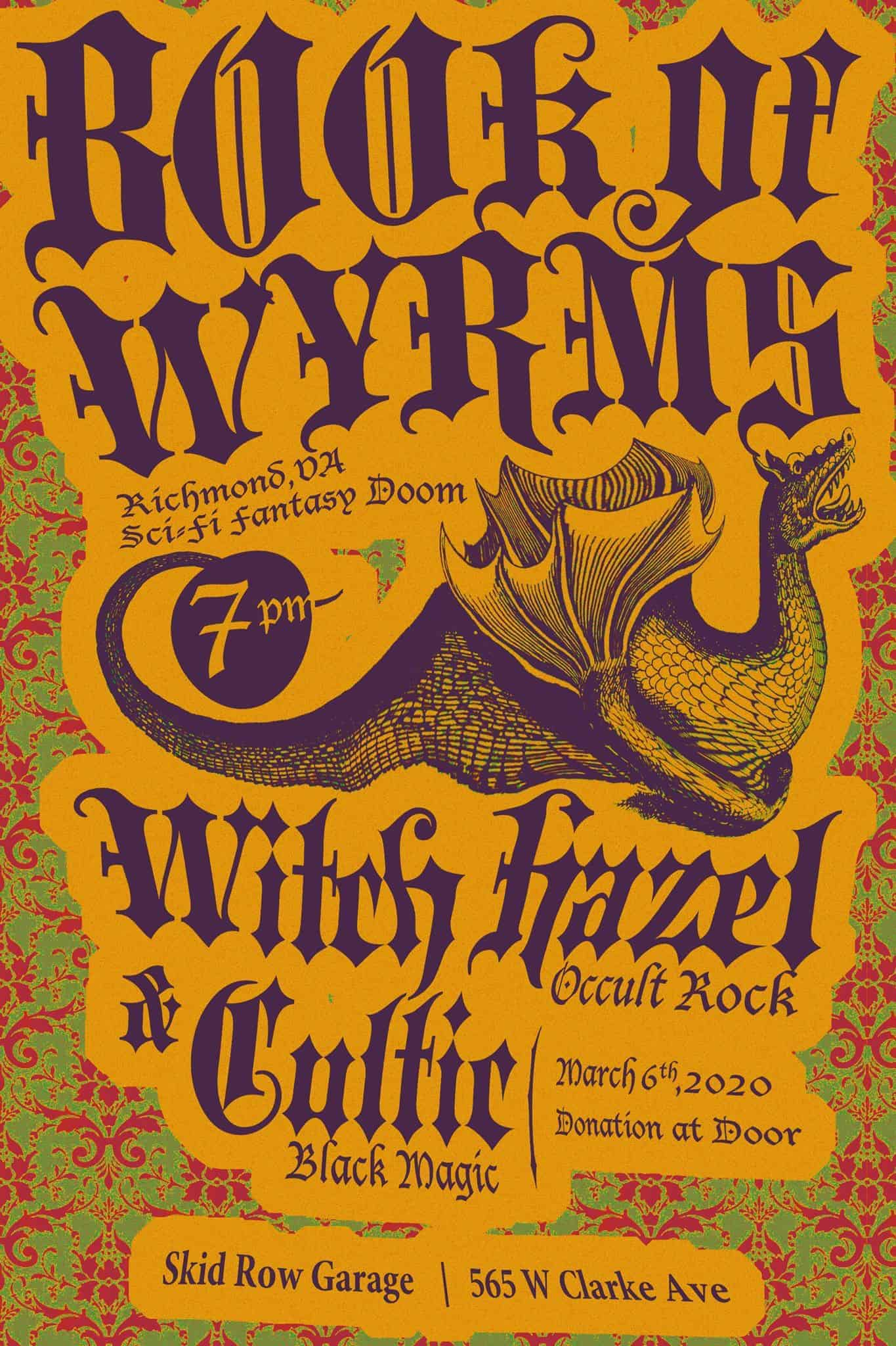 Book of Wyrms, Witch Hazel & Cultic - Doom Metal Show Flyer