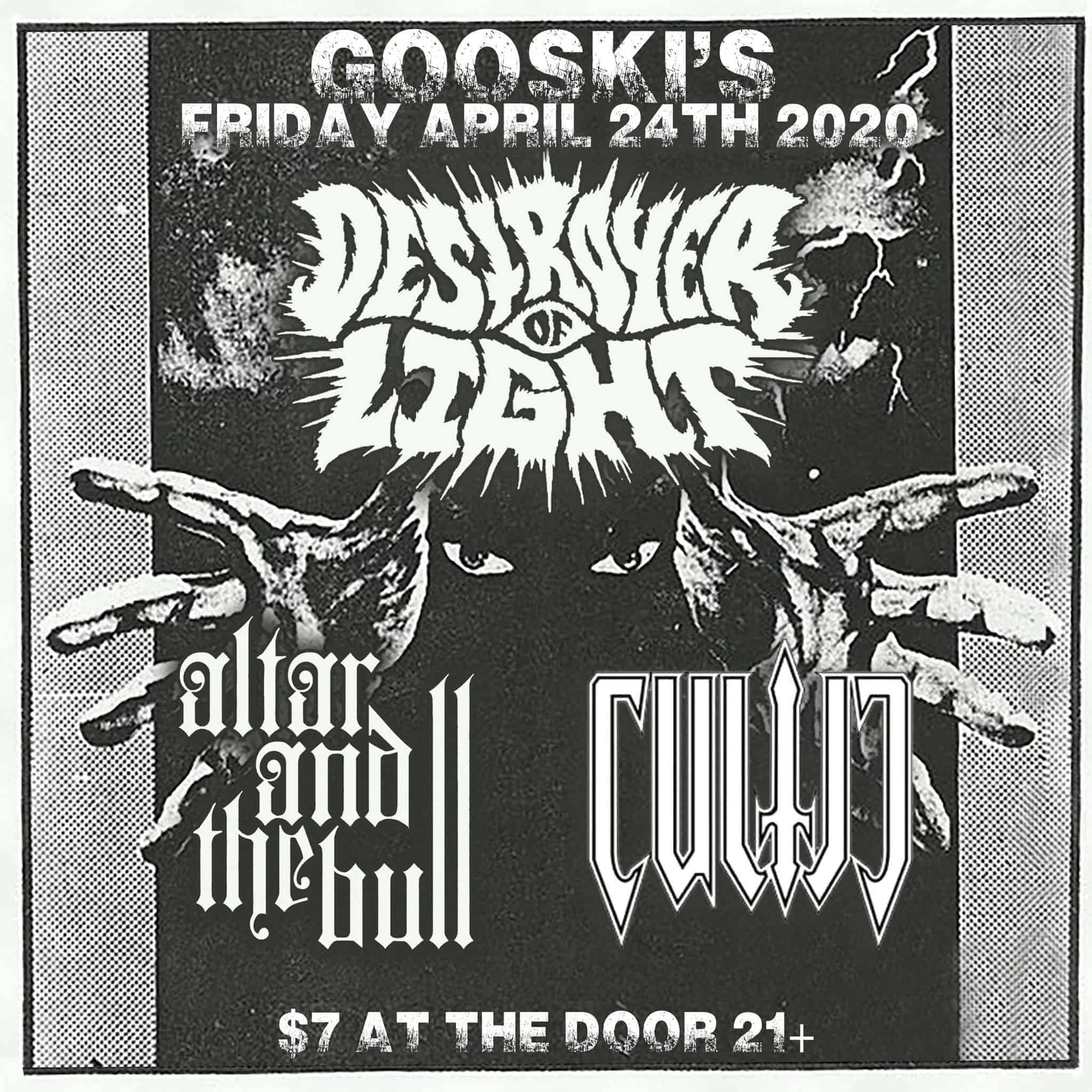 Destroyer of Ligh, Cultic, and Altar and the Bull - Show Flyer - April 24, 2020